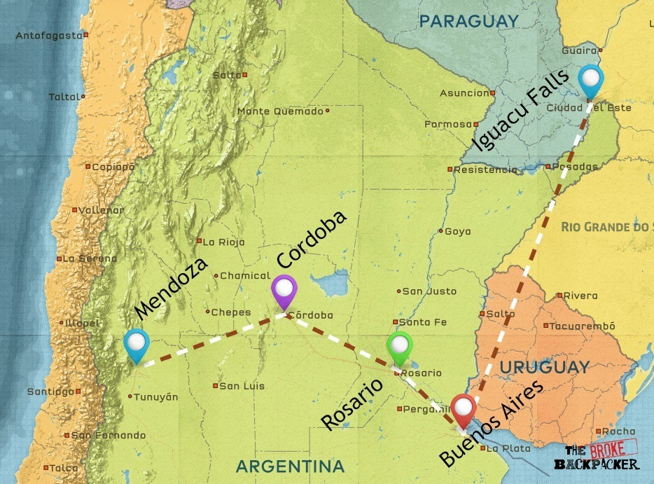 backpacking argentina 2 week itinerary map