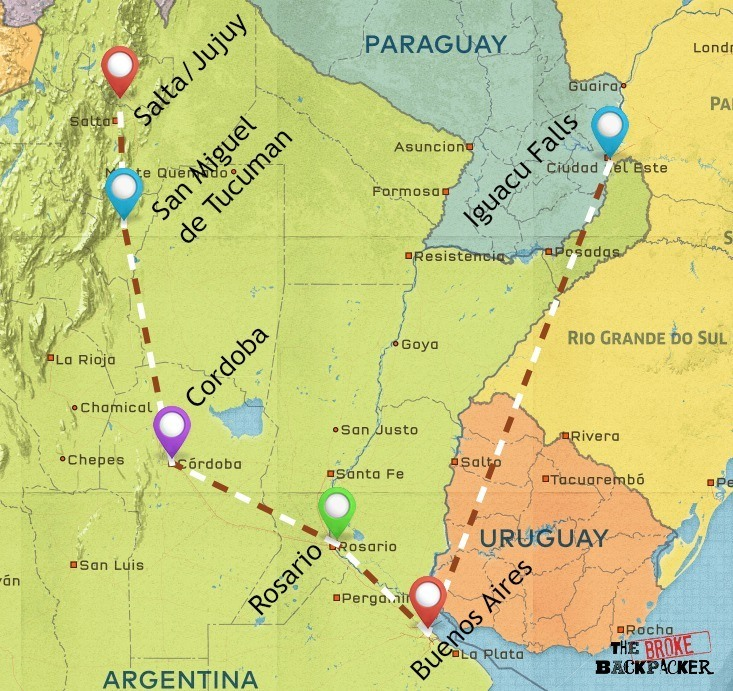 backpacking argentina 3 week itinerary map