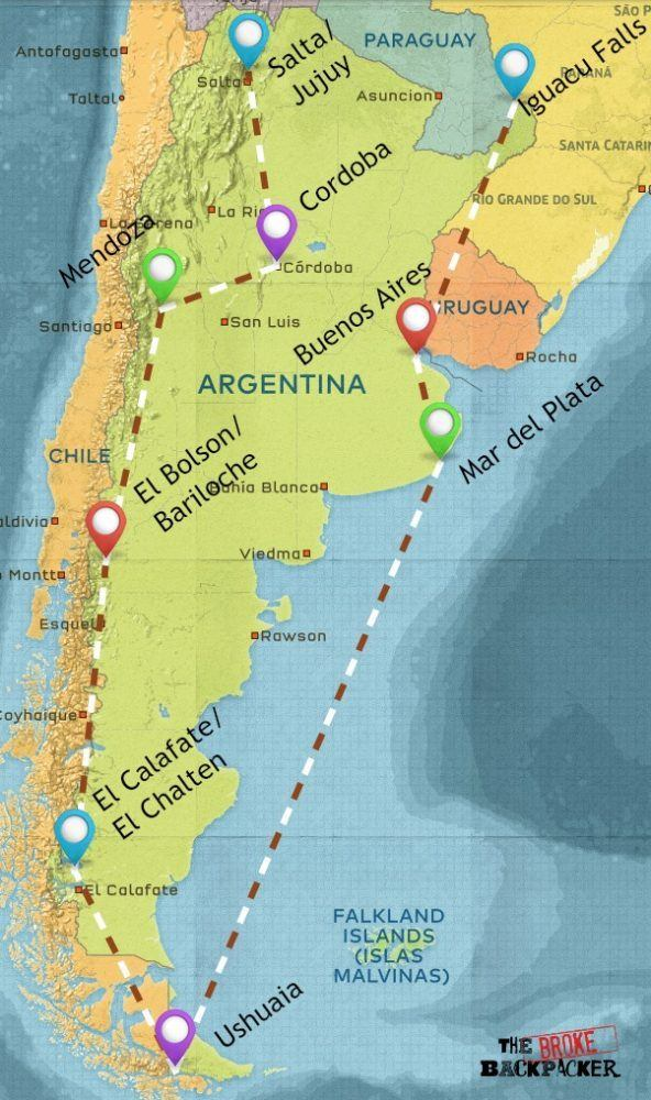 backpacking argentina 4 week itinerary map