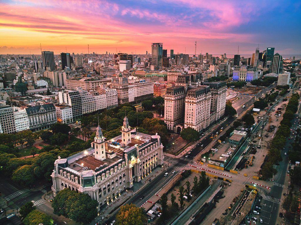 buenos aires and Edificio-Libertador at twilight argentina