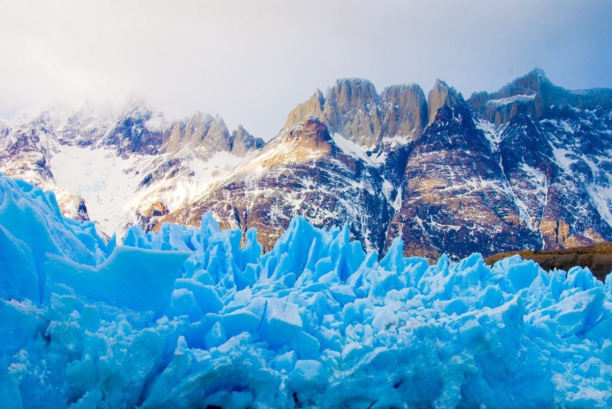 Glacier in Torres del Paine National Park.