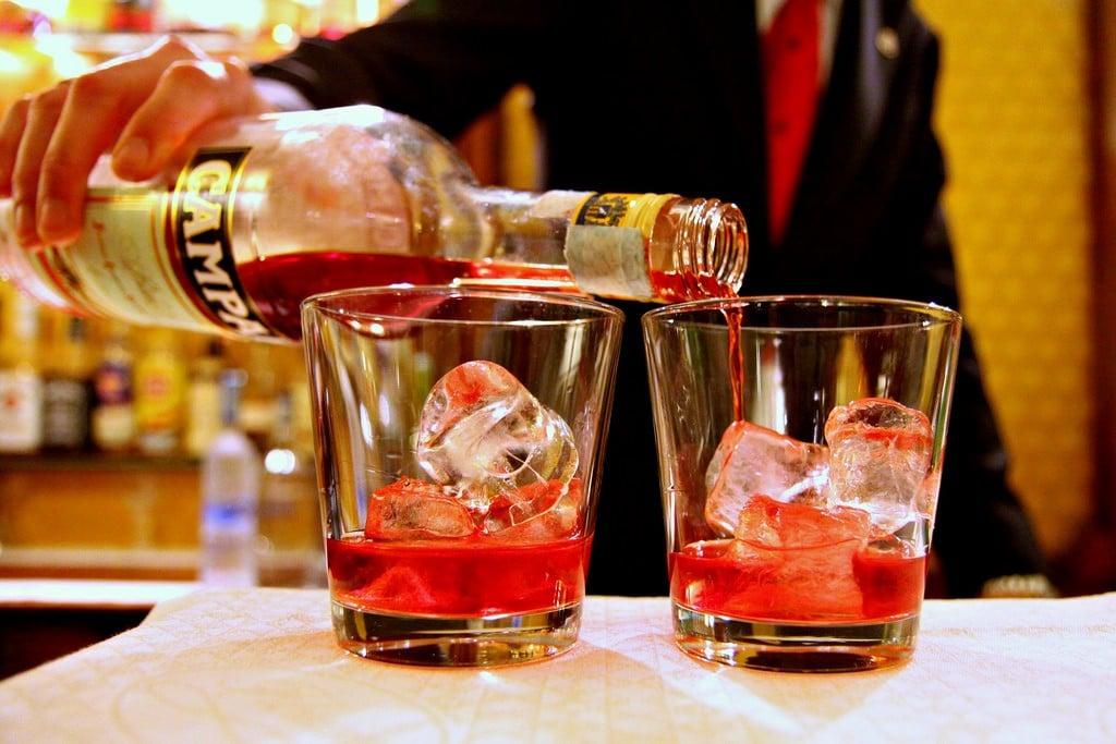 negronis being prepared italian drinks