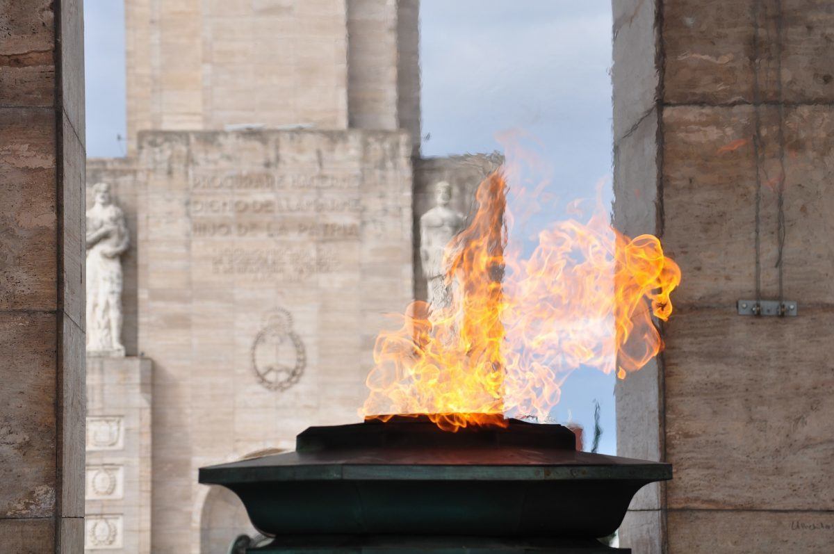 Eternal flame at the National Monument rosario argentina
