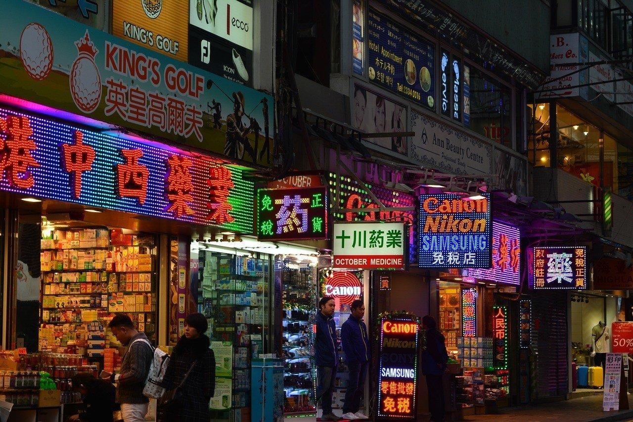 Lan Kwai Fong in Hong Kong at night