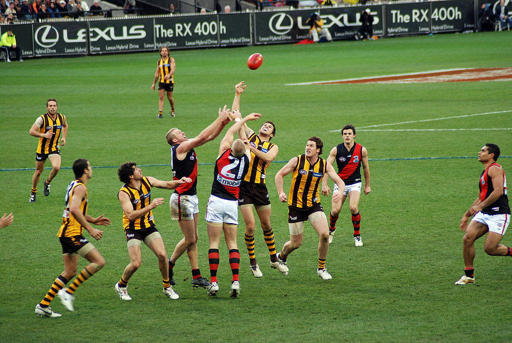 Stoppage_in_an_AFL_game-Tom Reynolds-wikicommons