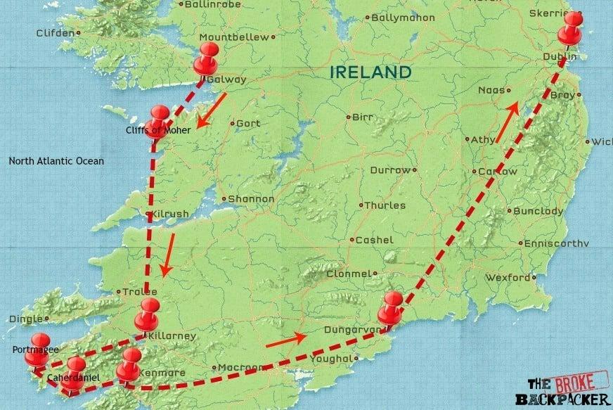 ireland travel 7 day itinerary map