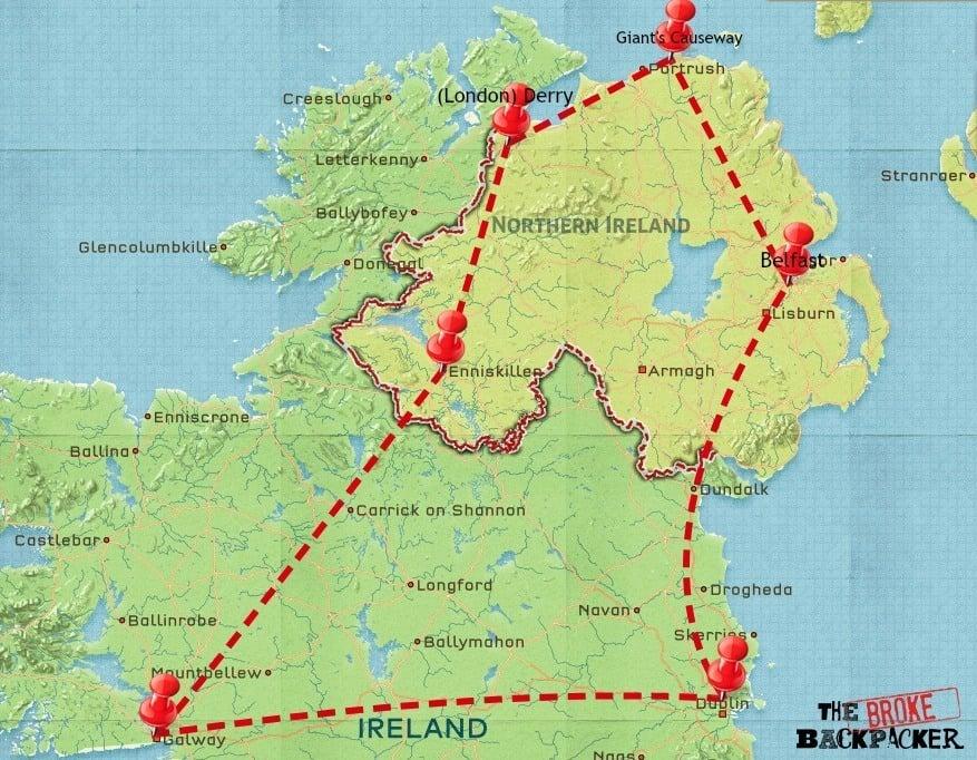 ireland travel itinerary map