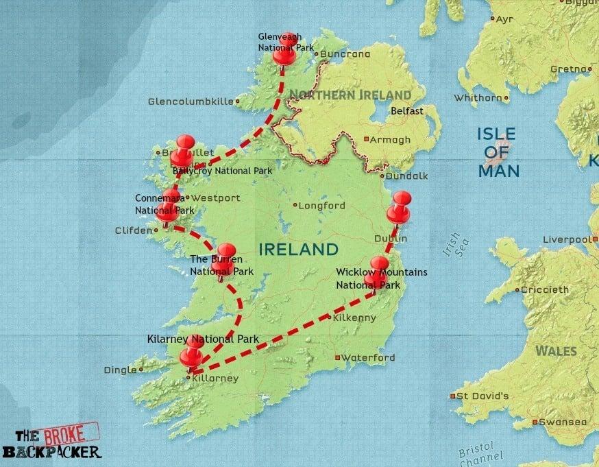 backpacking ireland itinerary map