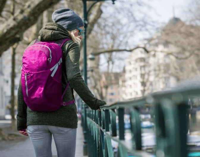 A woman with one of the best urban daypacks