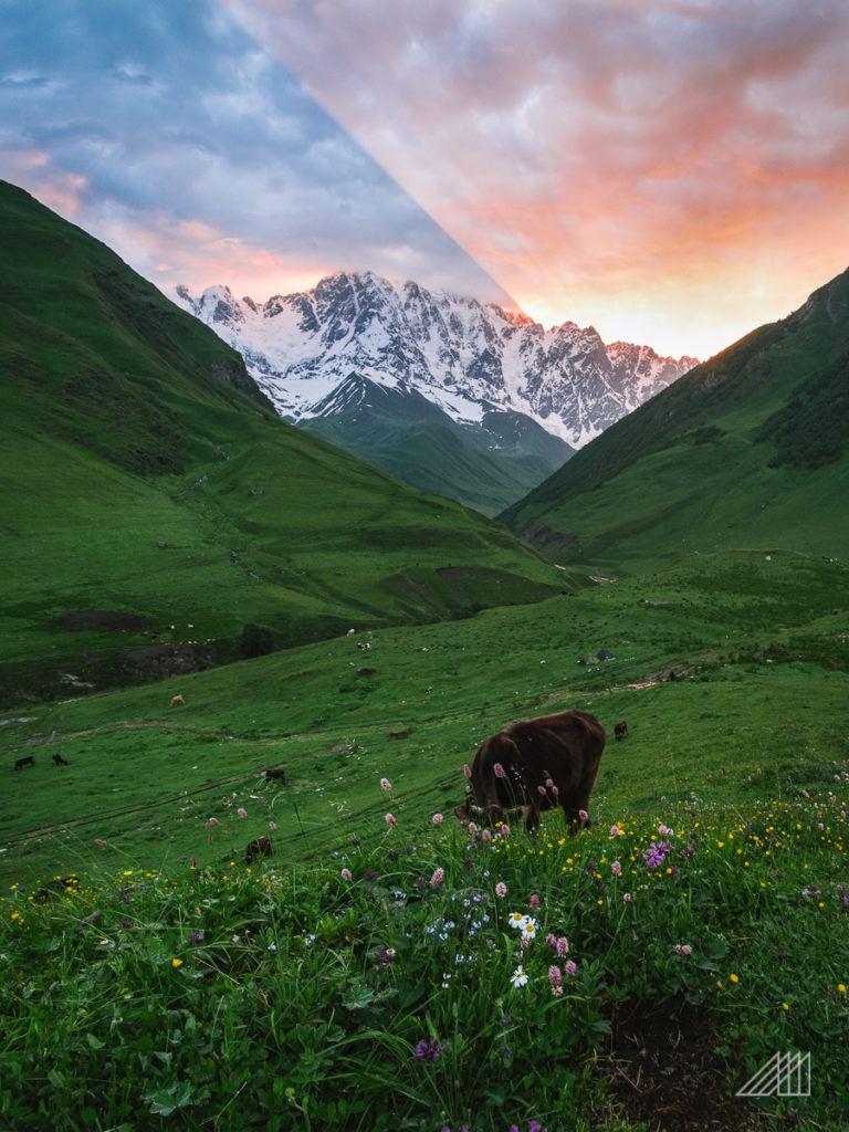 sunrise over shkhara georgia