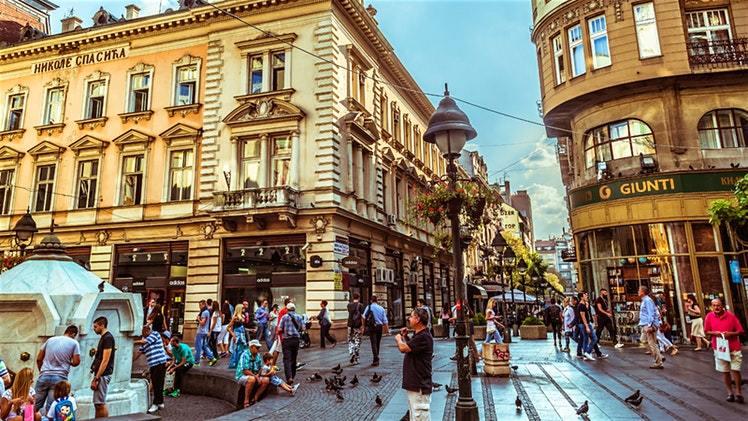 City street in Serbia's capital Belgrade
