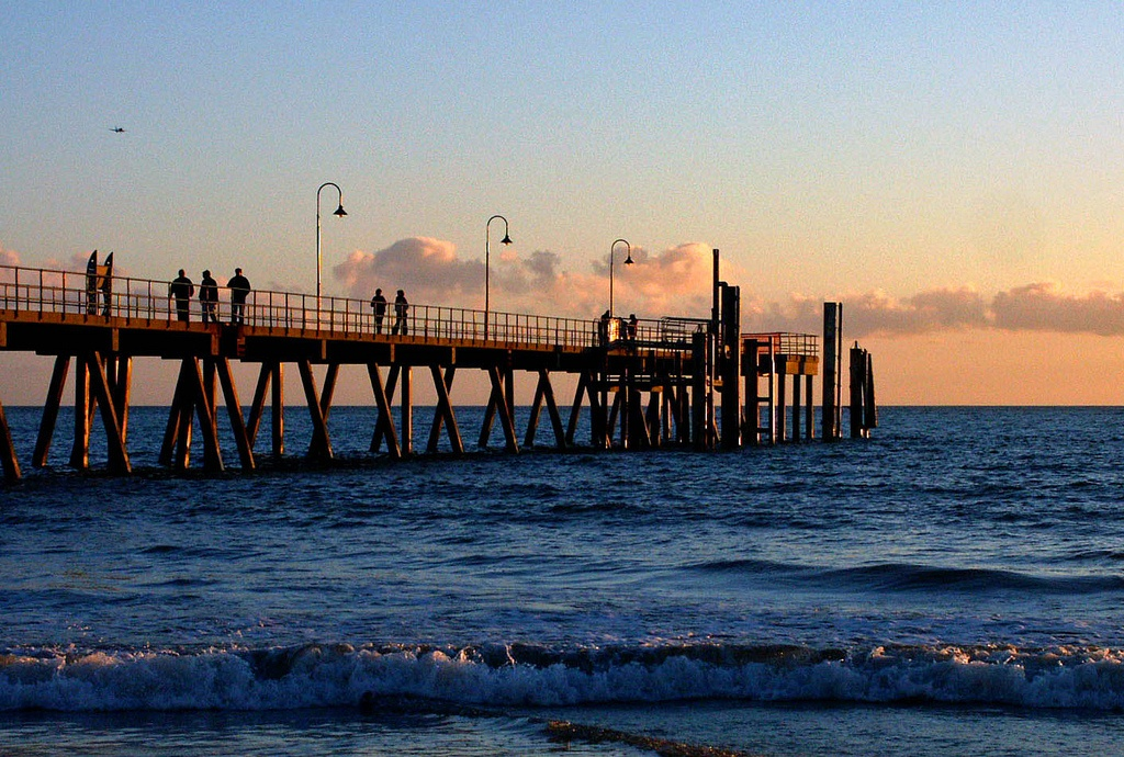 glenelg jetty at night