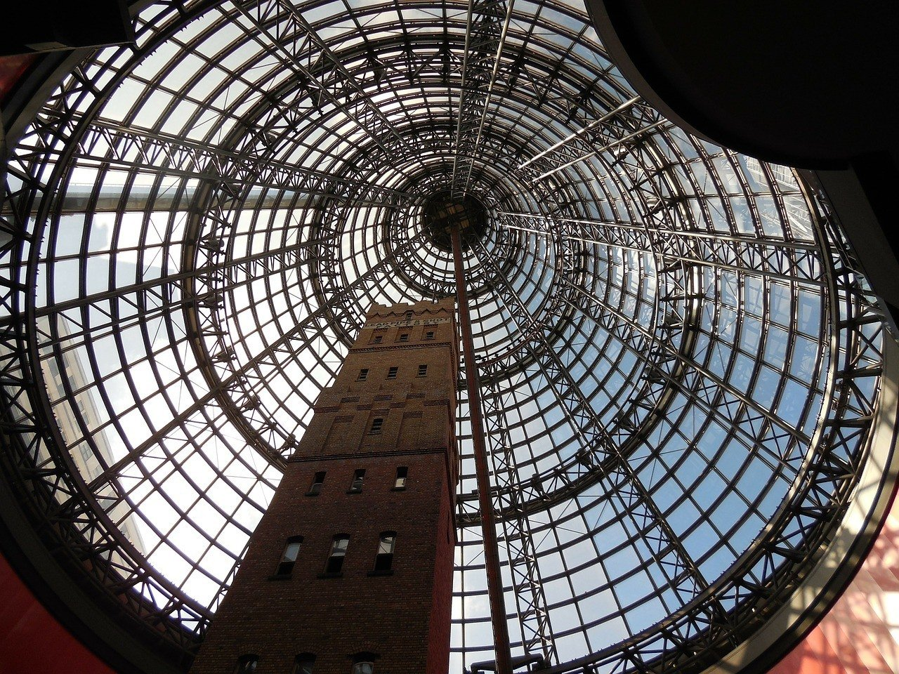 The iconic glass dome of the Melbourne Central Shopping Centre.