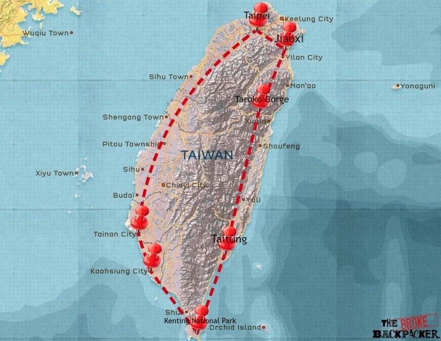 backpacking Taiwan itinerary