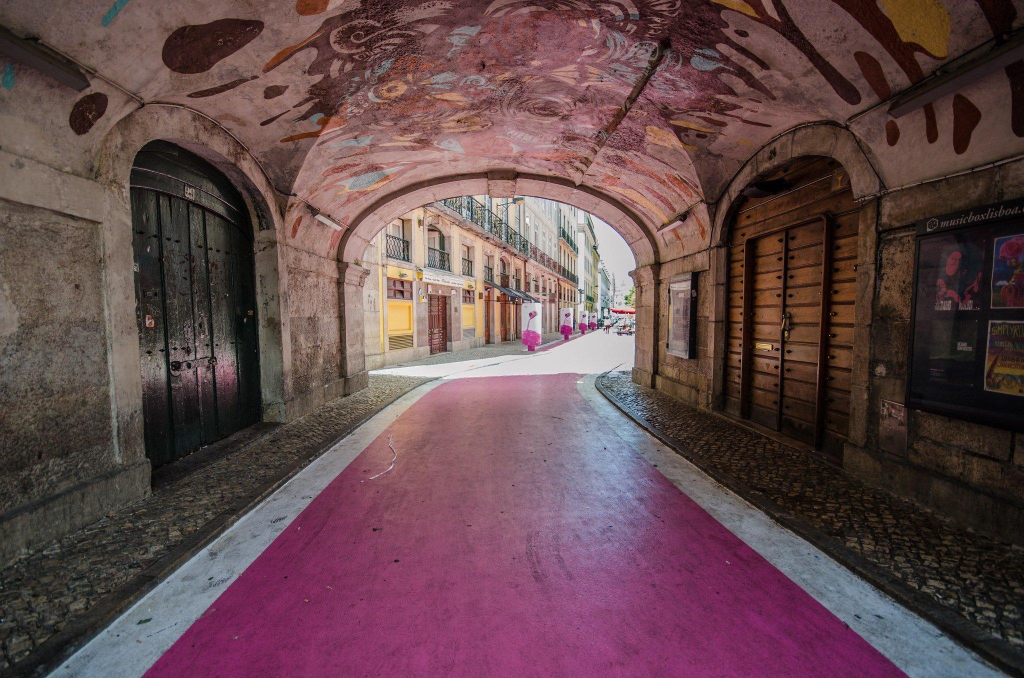 Pink Street in Bairro Alto for best nightlife in Lisbon