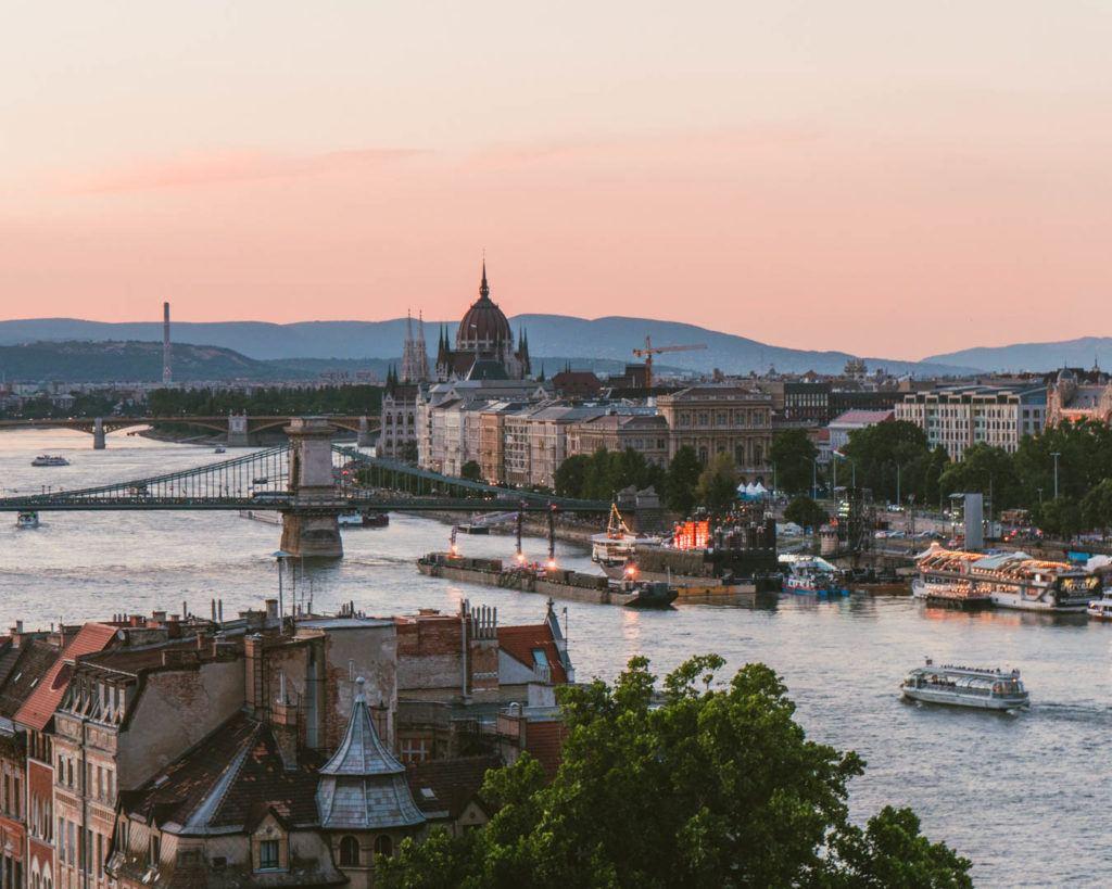 sunset in Budapest Hungary