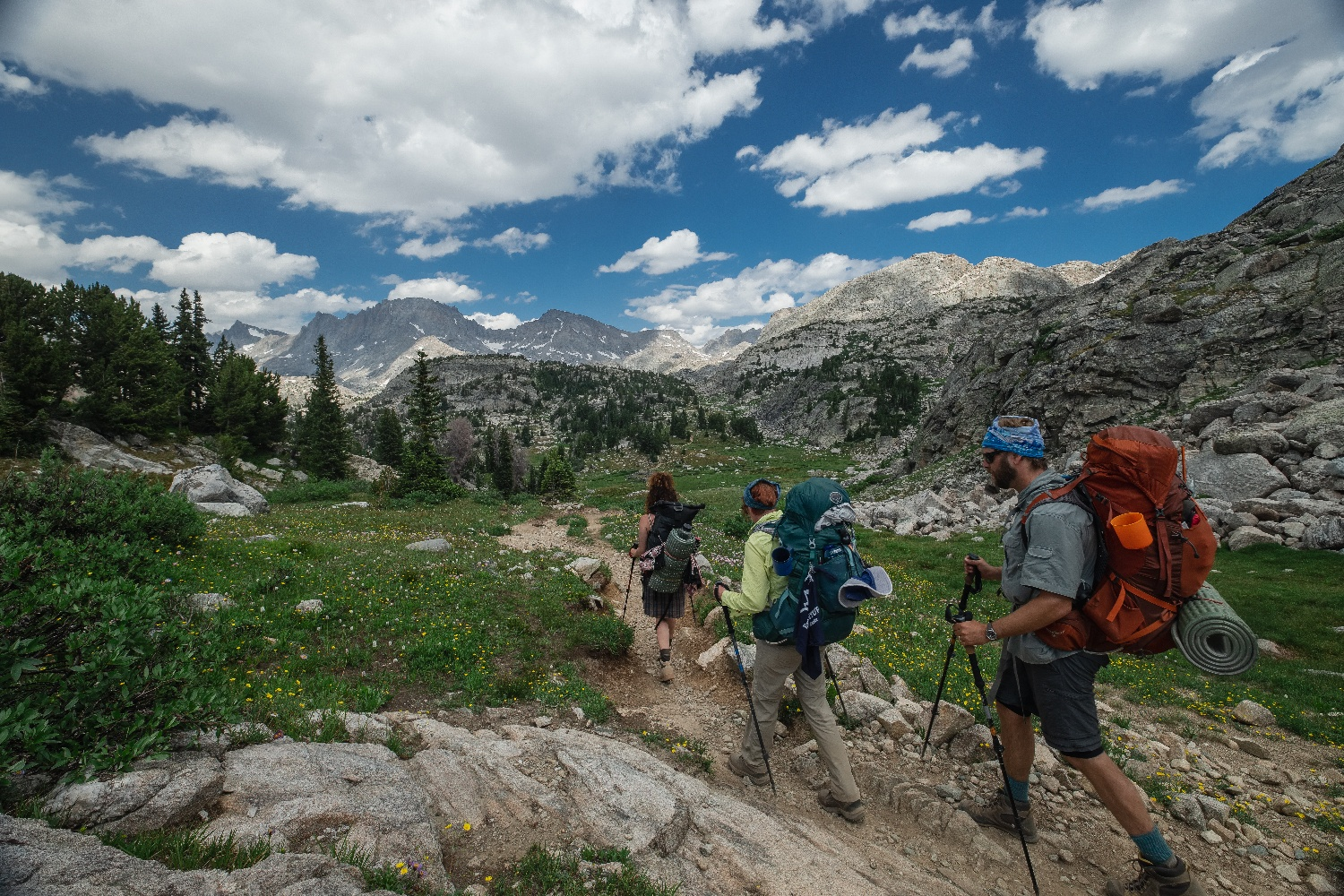 hikers approaching island lake wyoming roaming ralph