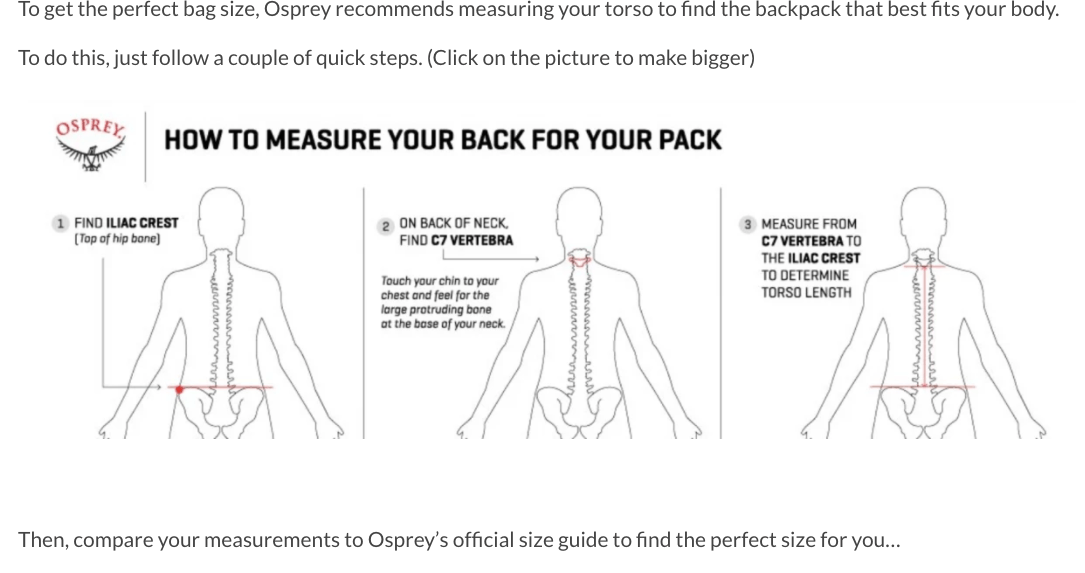 measure your back for your pack