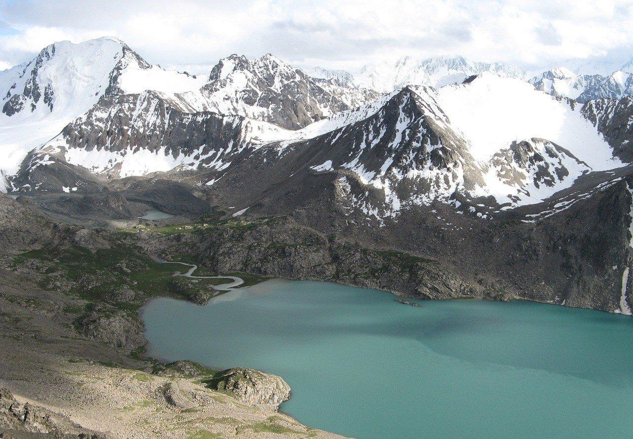 Beautiful Glacier Lake seen horse riding in Kyrgyzstan