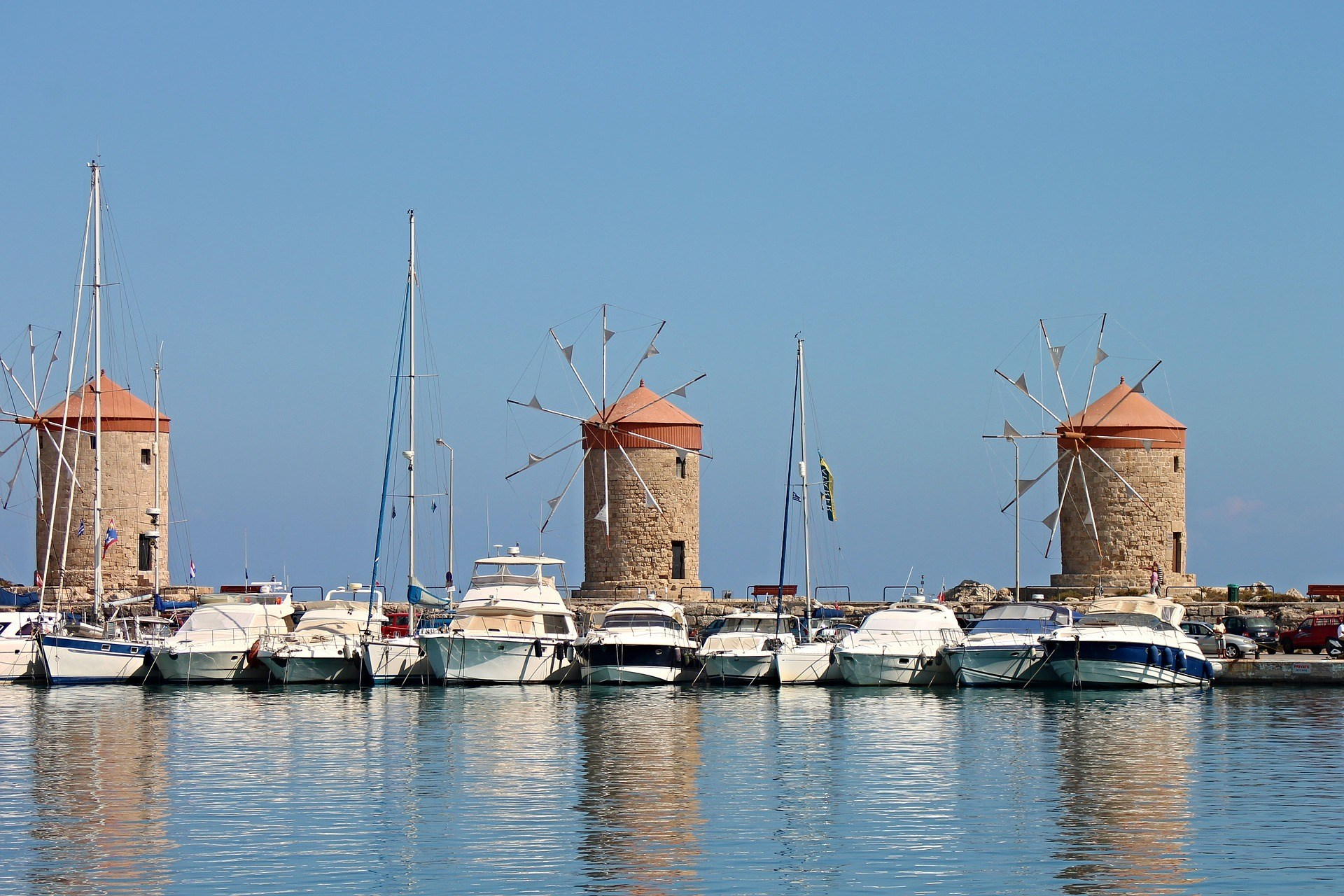 Rhodes New Town waterfront and windmills