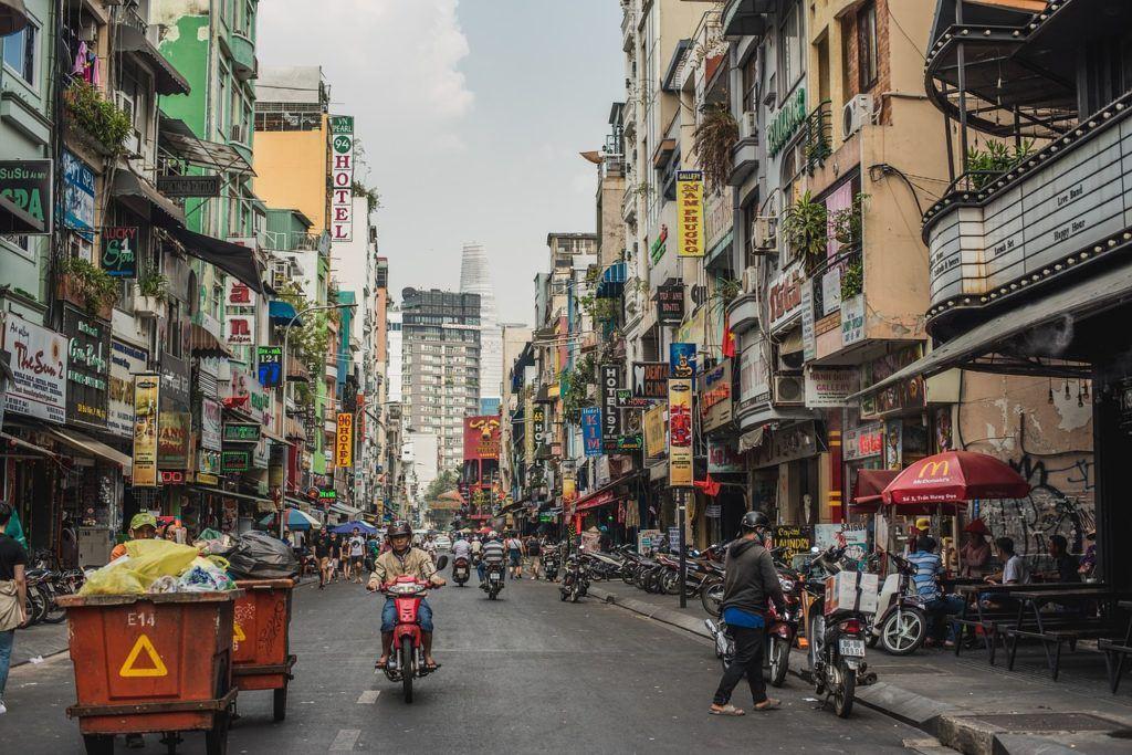 A bustling Pham Ngu Lao street in Ho Chi Minh CIty (Saigon)