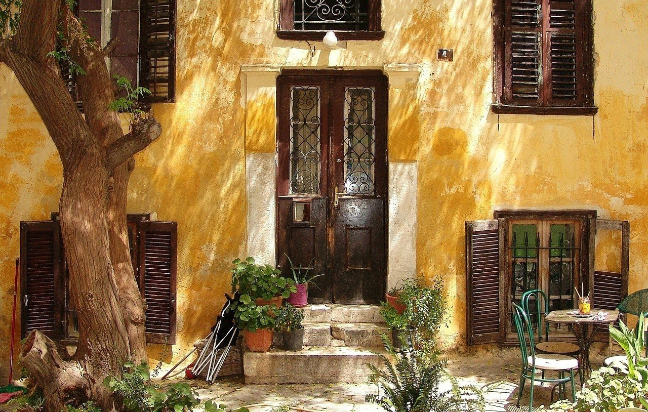 yellow wall in Athens Greece