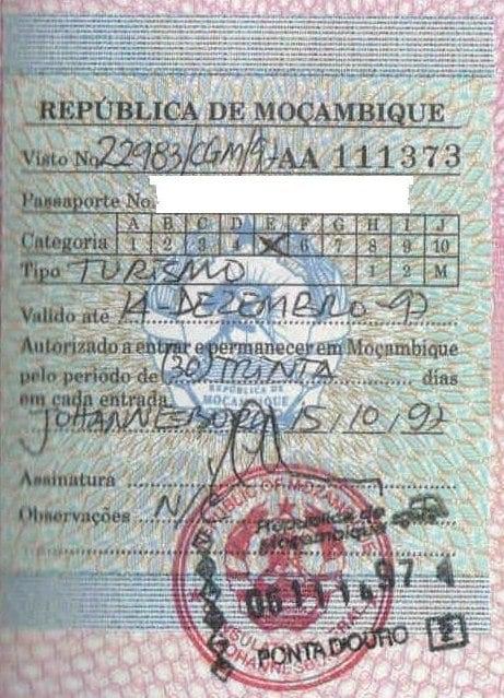 visa for travel mozambique