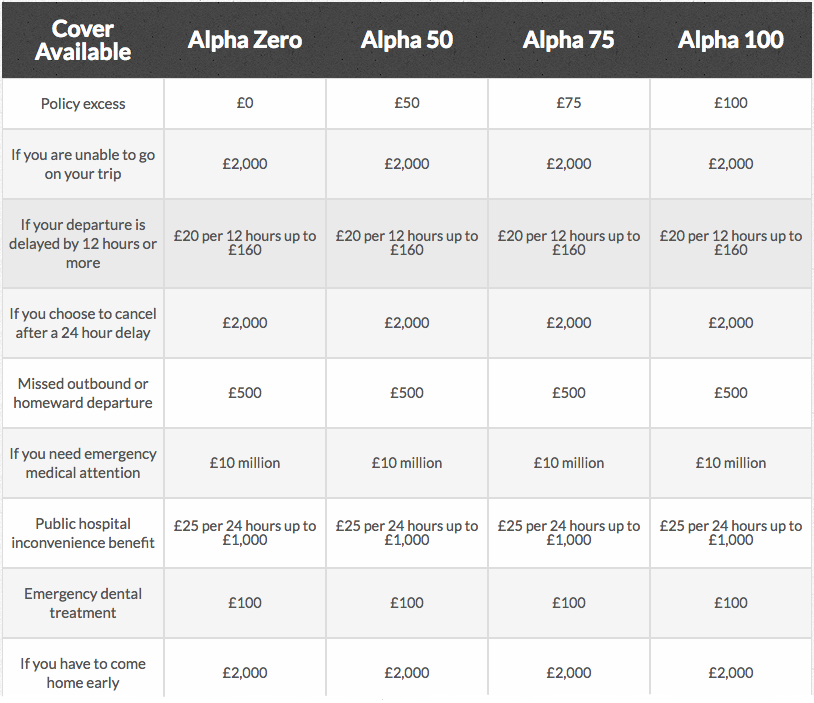 Alpha Insurance's - the recommend travel insurance for long-termers - excess details