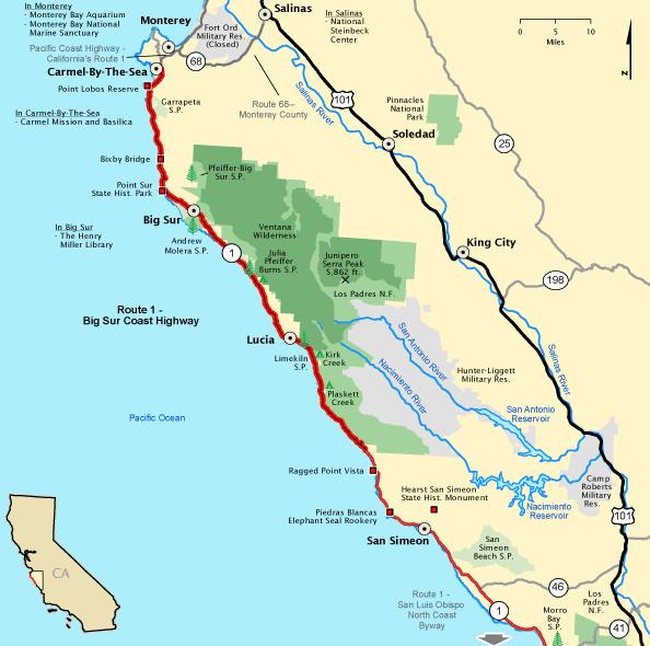 Map of big Big Sur