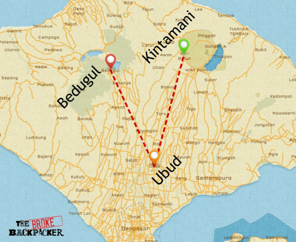 backpacking bali map 10 day itinerary