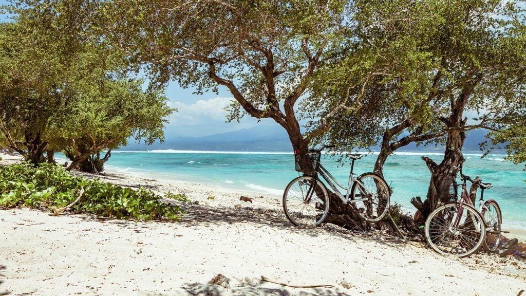 bicycle in bali beach