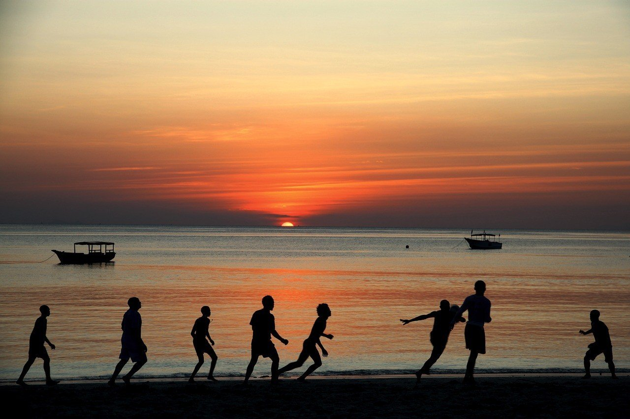 kids playing football in zanzibar