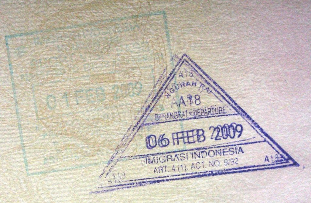 indonesia entry stamp backpacking bali