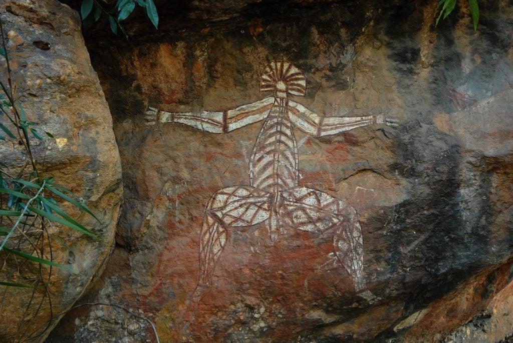 Famous Aboriginal art at Ubirr Rock, Kakadu - largest national park in Australia
