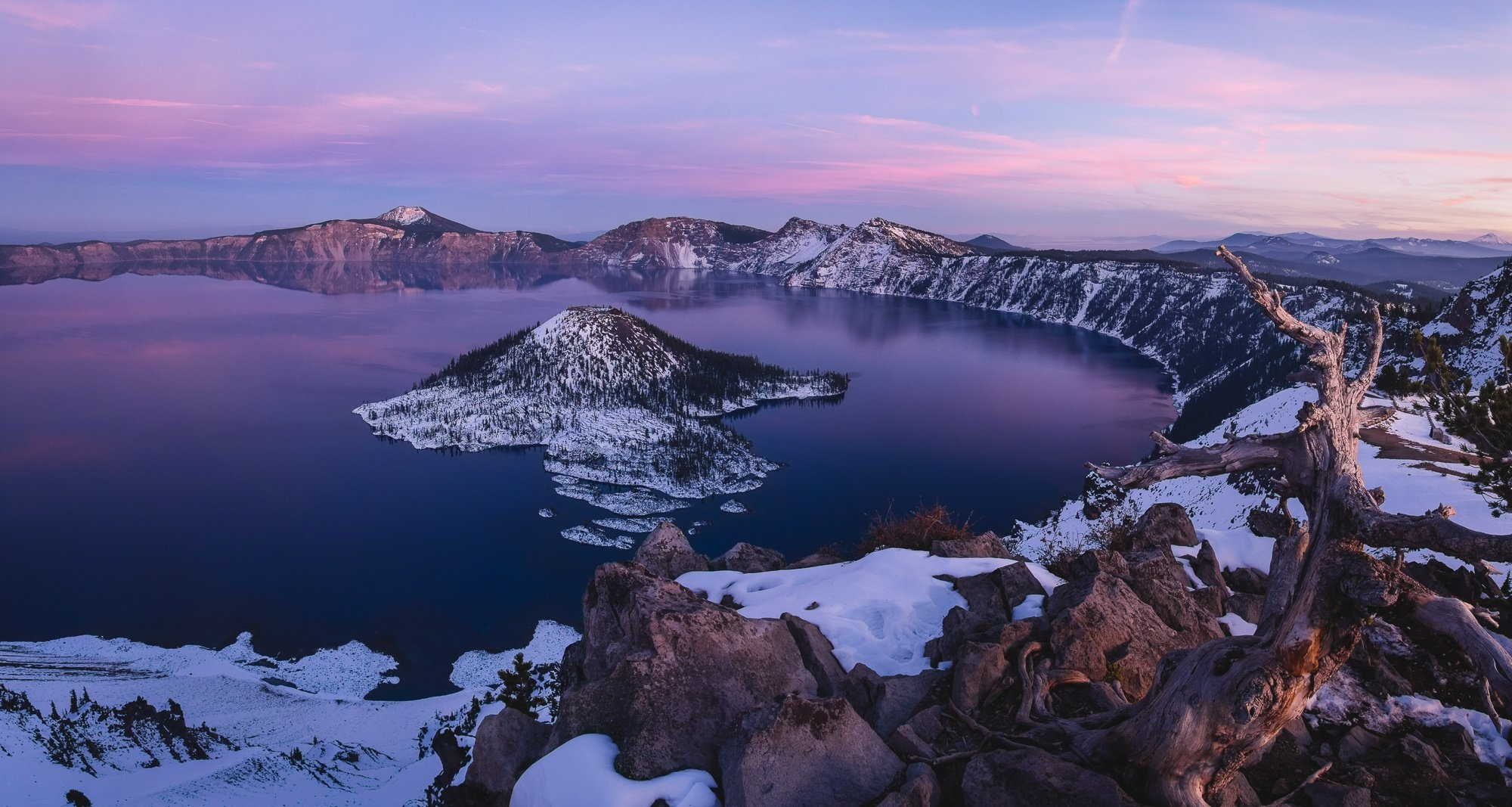 crater lake winter sunset roaming ralph photography