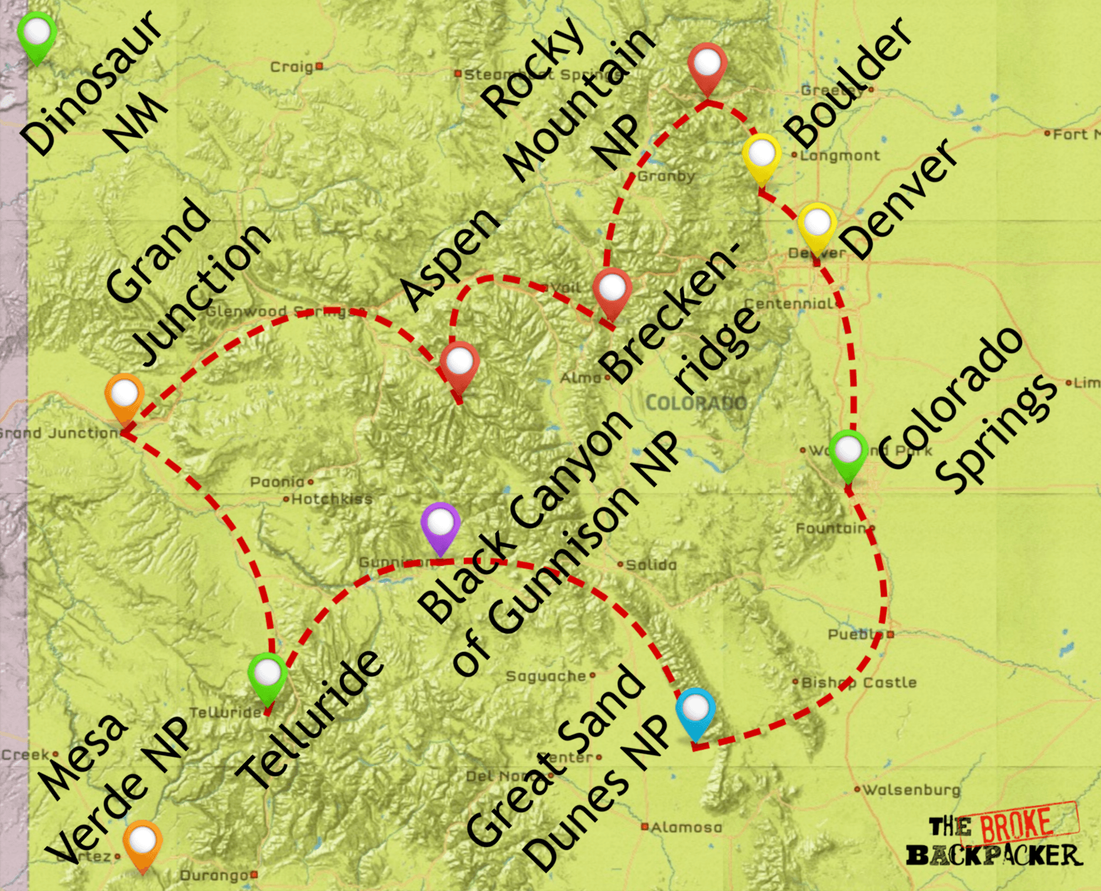 map of colorado road trip itinerary 14 days