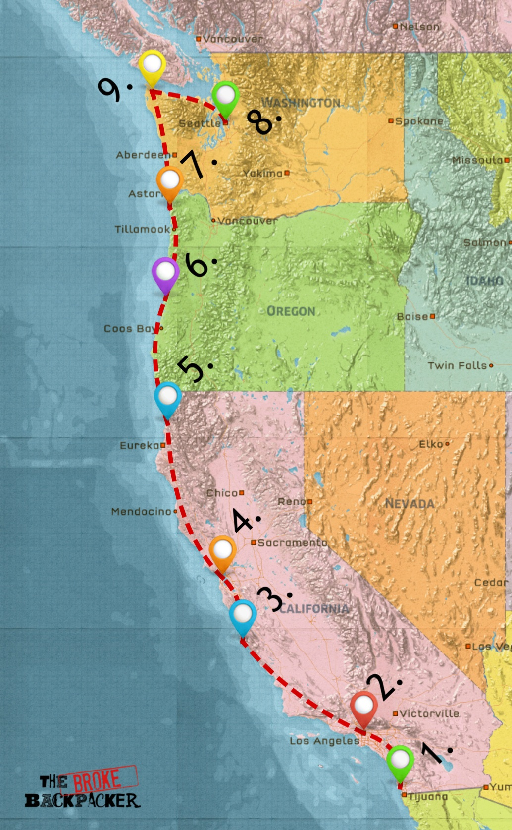 map of west coast road trip itinerary 14 days