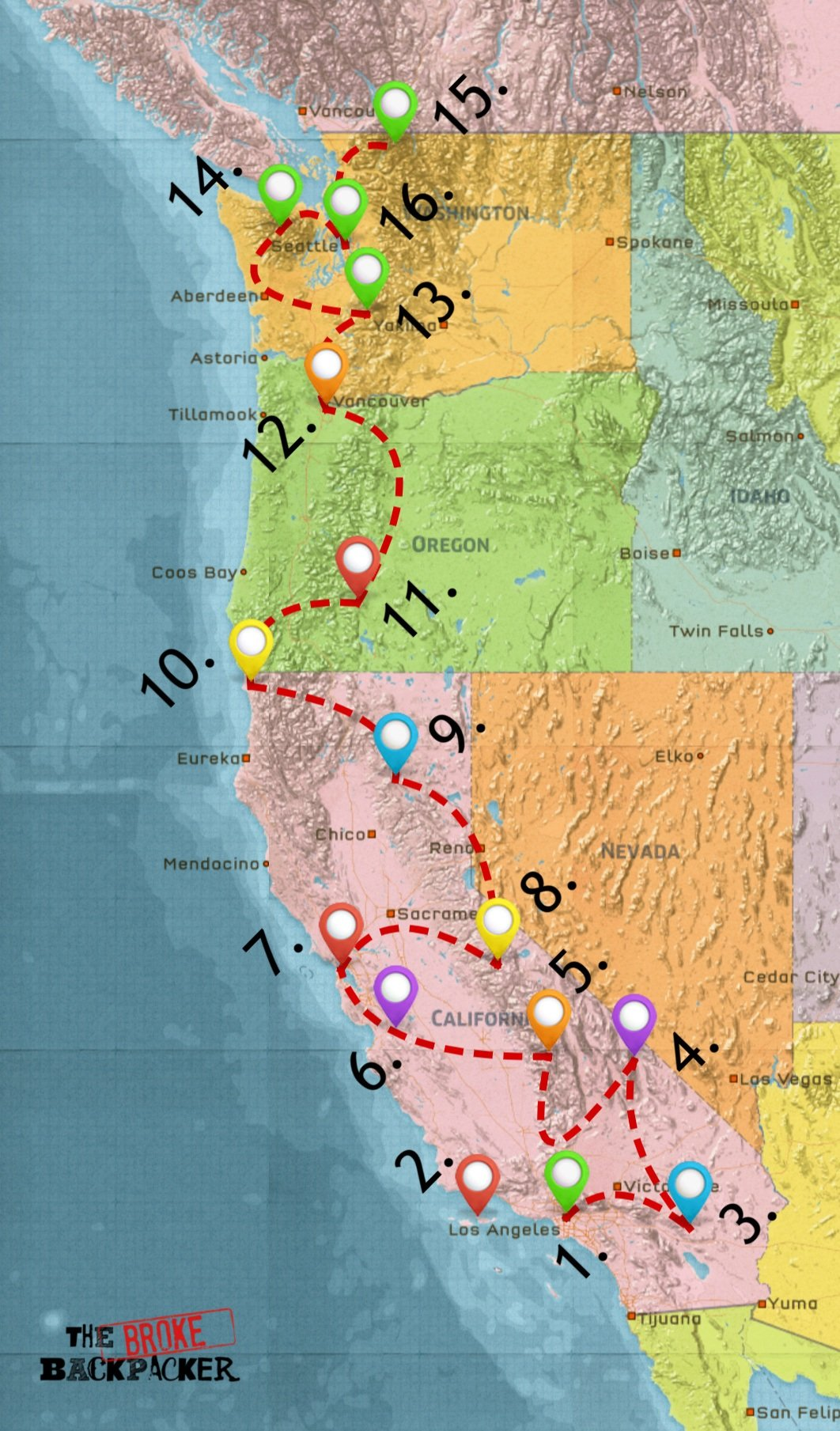 map of west coast road trip itinerary 10 days