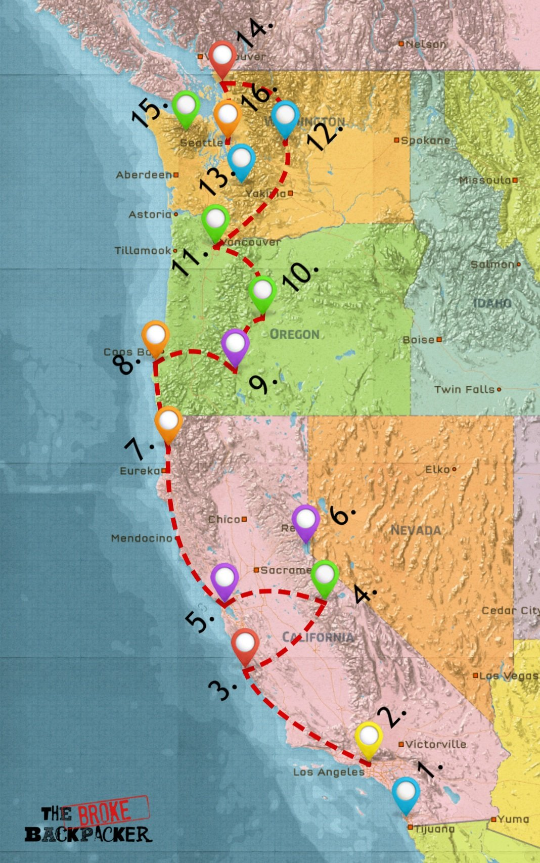 map of west coast road trip itinerary 3 weeks