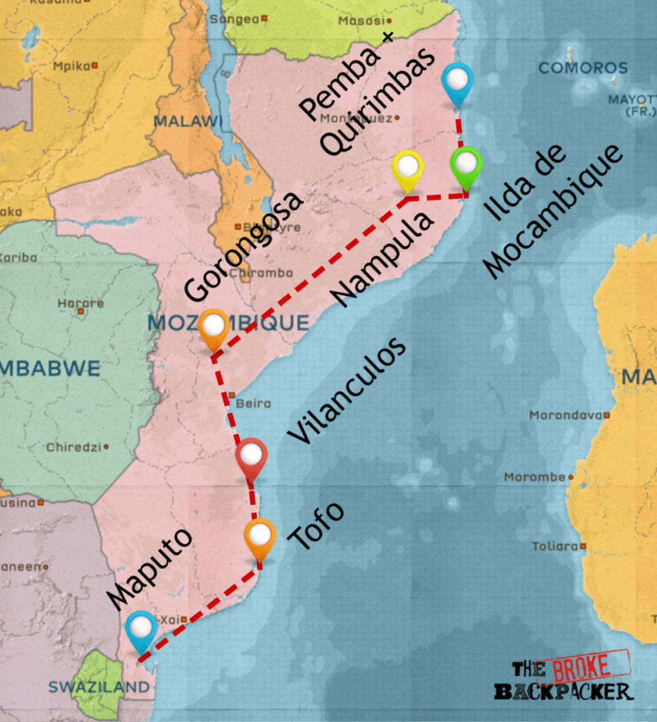 backpacking mozambique 4 week itinerary map