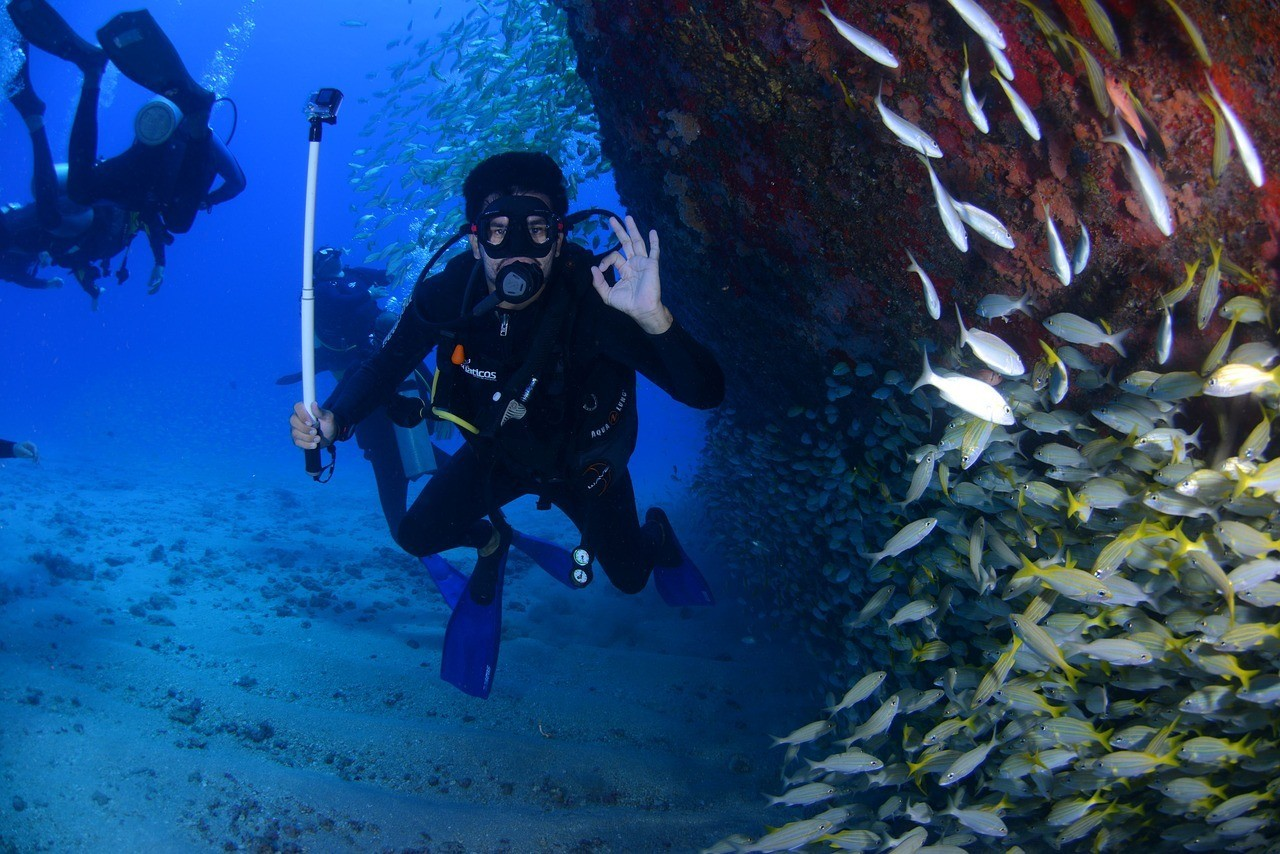 diver with gopro selfie stick