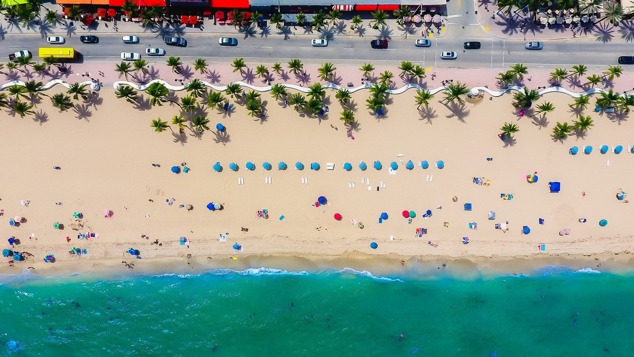 fort laudardale beach with umbrellas florida