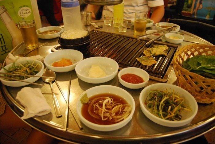 Korean BBQ spread at a popular restaurant in South Korea
