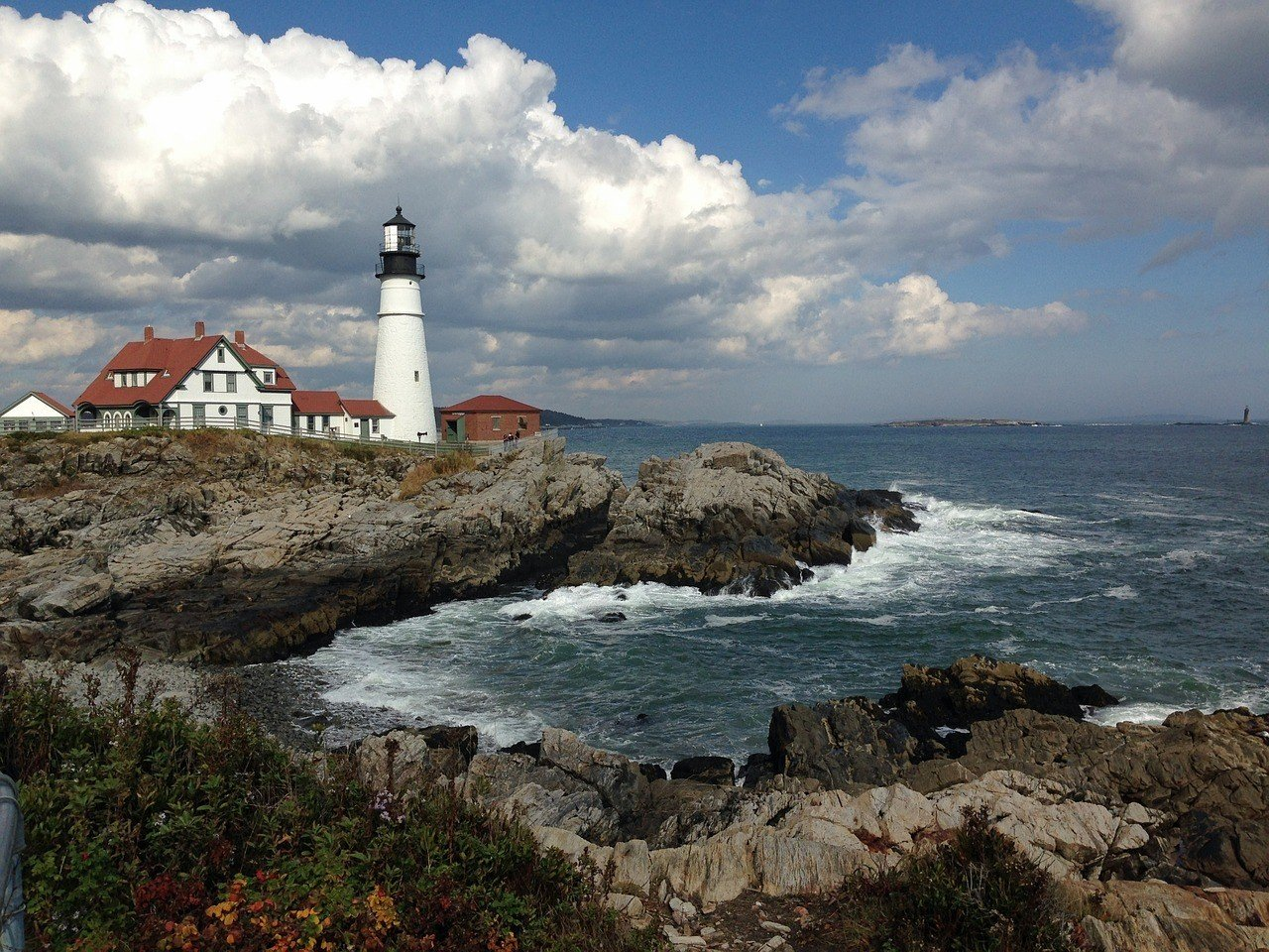 rugged maine coastline and lighthouse