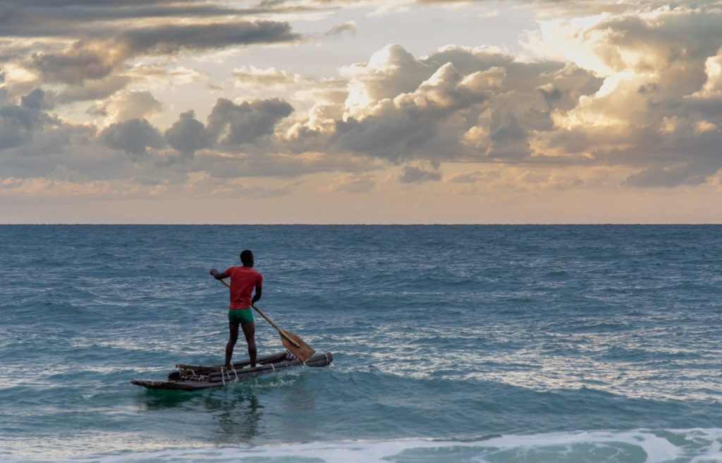 fisherman in mozambique going to sea