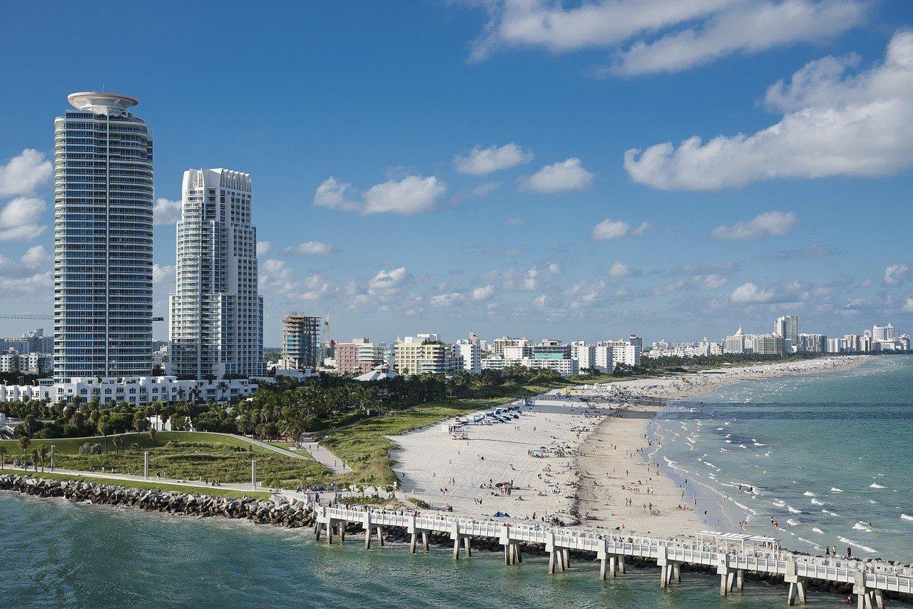 miami skyline and beach florida road trip