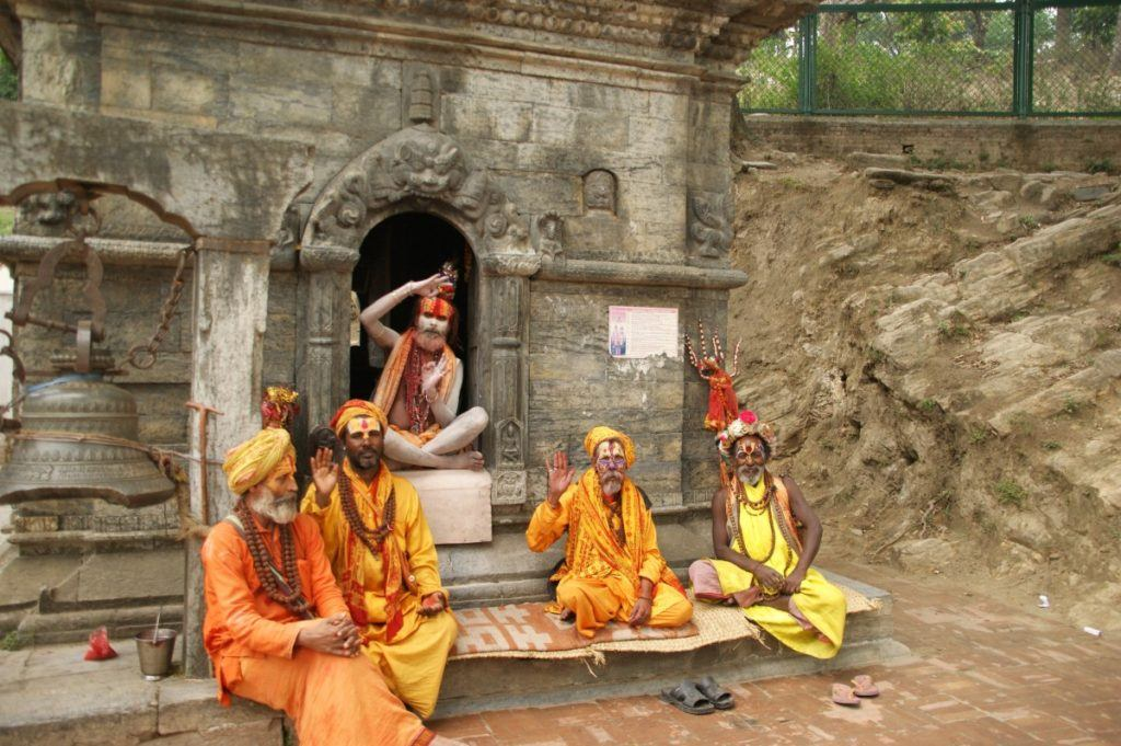 Five holy men in Kathmandu at a temple.