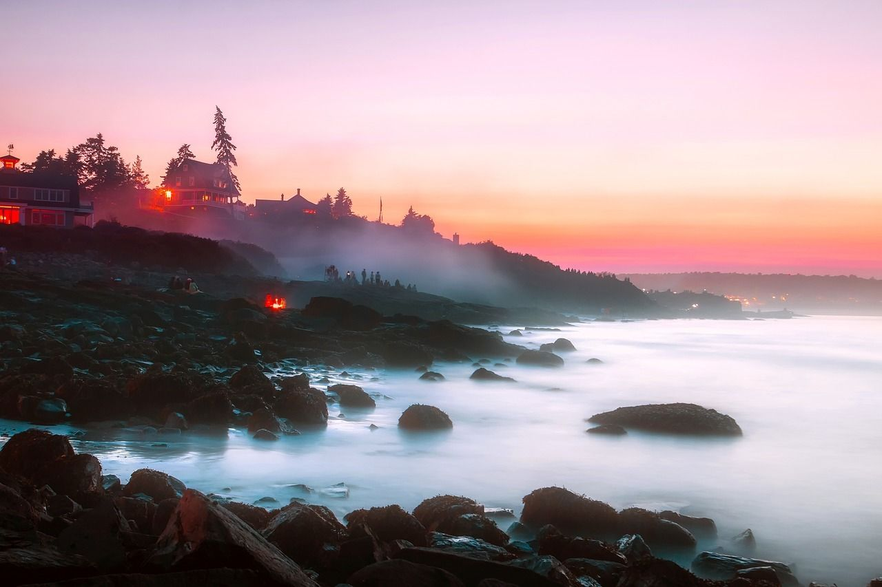 maine coastline at dawn rocky and rugged