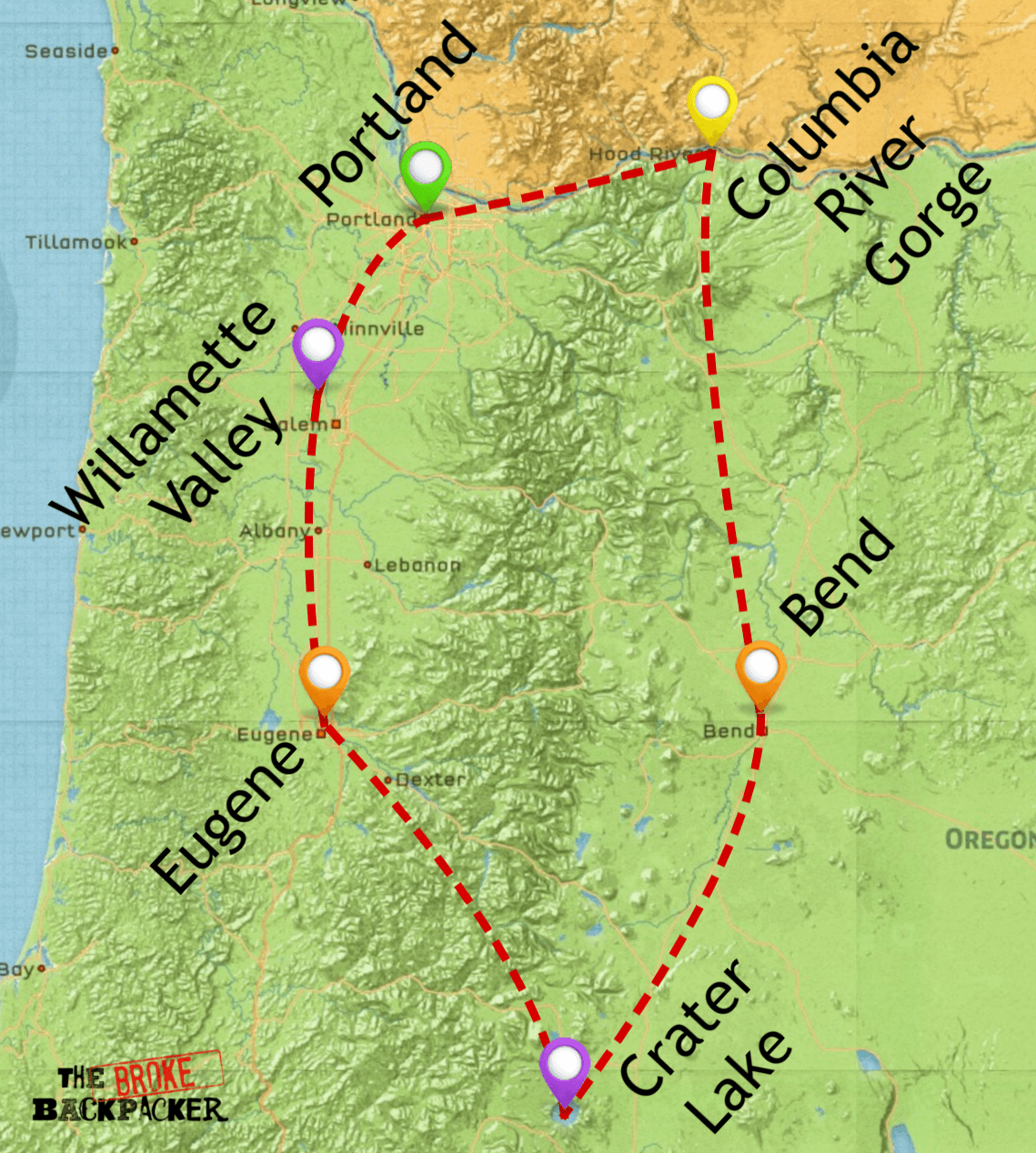 map of oregon travel itinerary