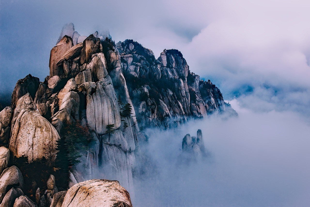 hiking around South Korea mountains in cloud